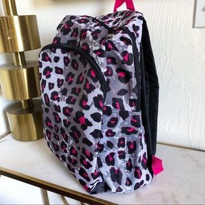 Handbags - Leopard Print Pink and Gray Backpack